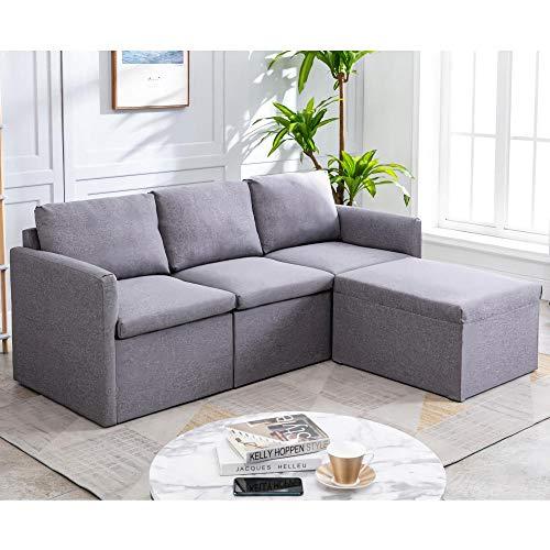 Sofá de Esquina Sofá de 3 plazas Sofá Chaise Longue Izquierdo o Derecho Sofá de Tela en Forma de L con sofá Moderno otomano para Sala
