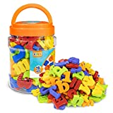 JCREN Magnetic Letters Magnets Alphabet and Numbers Toy ABC 123 Fridge Plastic Toy Set Educational Magnetic in Bucket Preschool Learning Spelling Counting Uppercase Lowercase Math Symbols for Toddler
