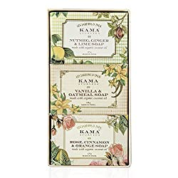 Kama Ayurveda Natural Soap handmade with organic coconut oil and pure essential oils, moisturize your skin along with cleansing it.This Gift Box containing Nutmeg, Ginger and Lime Soap, Vanilla and Oatmeal Soap, and Rose, Orange and Cinnamon Soap is a perfect gift for your sister or female friends.Click to read a curated list of 8 Ayurvedic beauty brands you should know for natural and loving touch with Ayurvedic care #ayurvedicaskincare #ayurvedicaskincarefaces ##ayurvedicaskincareproducts #antiagingskincareproducts
