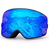 【Ultra Wide Clear View】Aquior Large Cylindrical Ski Goggles provides Wide View Panoramic design with truly barrier-free and Clear visibility. No reflections or distortion helps you identify the ditch and obstruction on the trails, professional and st...