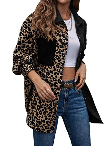 WBYFDC Camisa De Mujer Estampado De Leopardo Manga Larga Bloques De Color Abrigo Medio De Un Solo Pecho Chaqueta Holgada Informal Talla Grande Top