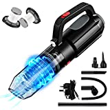 SONRU Handheld Vacuum Cleaner, 7000PA Cordless Rechargeable Hoover, Strong Suction Vacuum Cleaner with LED Light, Dual HEPA Filters, Inflating Function, Various Attachments, for Home Car Office Clean