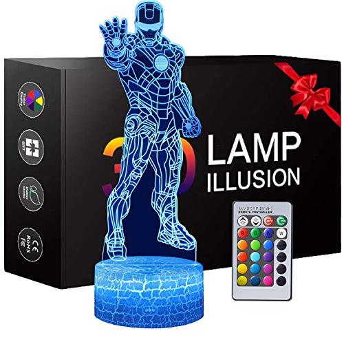 3D Superheld Nachtlicht, Iron man Spielzeug für Jungen, 3D Illusion Lampe mit 16 Farben Ändern und Fernbedienung, Spaß Herren Gadget Geschenkideen, Geschenk für Kinder Mädchen Jungen
