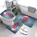 SDINAZ Alfombrillas de baño Set 3 Piezas Antideslizantes Lavables Alfombras de baño Moquetas Flores