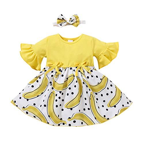 2021 ltimo Conjunto De 2 Piezas El Verano Vestido Infantil 1-3 Aos Vestido De Princesa con Estampado De Pltano Y Fresa con Manga De Trompeta para Nias + Diadema