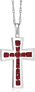 Gem Stone King 10K Solid Gold 0.5 Inch Cross Pendant With 18 inches 10K Gold Chain