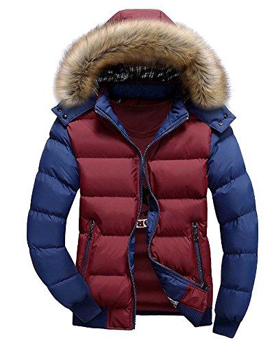 ZongSen Uomo Cappotto Casuale con Cappucio Sportiva Manica Lunga Invernale Cotone Cerniera Rosso Blu M