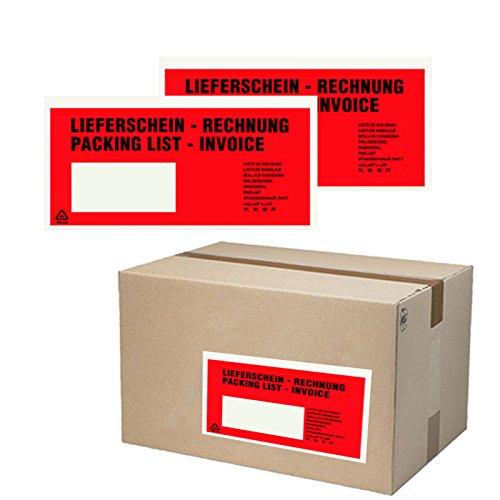 250 St. selbstklebende Dokumententaschen 22,5 x 11 cm DIN Lang Lieferscheintaschen