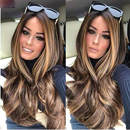 FFWIG Perruque Longue bouclée Perruques ondulées Perruques de Cheveux synthétiques Perruques Longues Pente Wave pour Femme 28 Pouces pour la fête Quotidienne,01