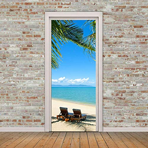 ZOOINB 3D Pegatinas Decorativas De Puerta, Etiqueta De Puerta Removibles Sillón Blue Beach Coconut,Mural De Oficina Autoadhesivo para Puertas Interiores,Decoración De Sala De Estar 77X200Cm