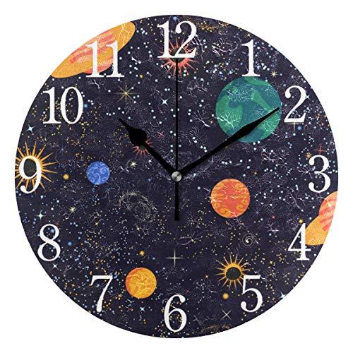 AABAO Runde Wanduhr, Galaxie, Weltraum, Erde, geräuschlos, Nicht tickend, Ölgemälde für Schlafzimmer, Wohnzimmer, Büro, Schule, Zuhause