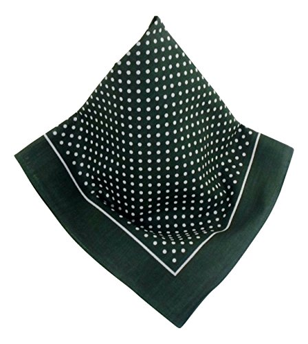 Dunkel-grünes Nickituch mit Punkten   Bandana aus 100% Baumwolle   53 x 53 cm   Halstuch   Teichmann