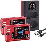 Baxxtar LP-E6N Set - Cargador 18602 (USB Dual LCD) y batería 2X compatible con Canon XC10 XC15 EOS R 60D 70D 80D 90D 5D Mark I II III IV 6D 7D Mark I II