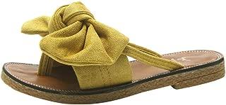 FORUU Women Fashion Solid Color Bow tie Flat Heel Sandals Slipper Beach Shoes