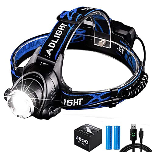 Aukelly LED Headlamps Rechargeable USB Head Lamps Head Flashlight LED T6 Headlight Zoomable HeadLamp,Super Bright Head Lights,IP65 Waterproof,Pefect for Camping,Bicycling,Hiking,with 18650 Battery