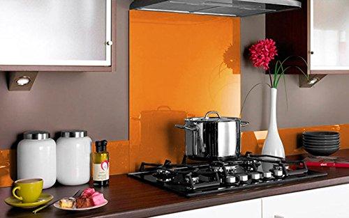 Vidriopanel Panel DE Vidrio para Cocina en Diferentes Medidas y Colores/Cristal de Protección Salpicaduras para frentes de cocinas (70x65 cm, Naranja)