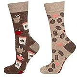 soxo Damen Bunte Muster Socken | Größe 35-40 | Motivsocken aus Baumwolle | Lustige Geschenk für Frauen (Kaffee)