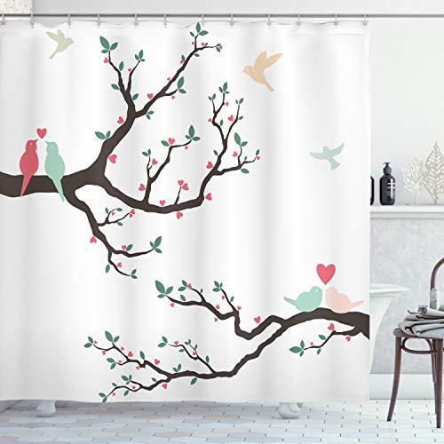 ABAKUHAUS Liefde Douchegordijn, Retro Vogels op de Tak van de Boom, stoffen badkamerdecoratieset met haakjes, 175 x 220 cm, Groen Roze Bruin