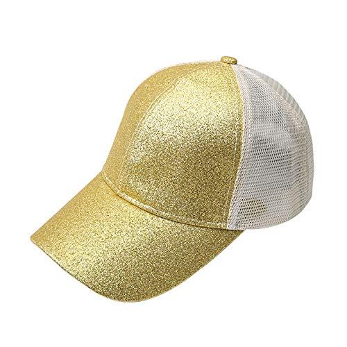 LSWL Gorra de béisbol del Brillo de Alta Cola de Caballo Cola de Caballo de la Mujer Sombrero Sucio Bollos de Malla Ponycap papá Casual de la Mujer Sombrero (Color : 4)