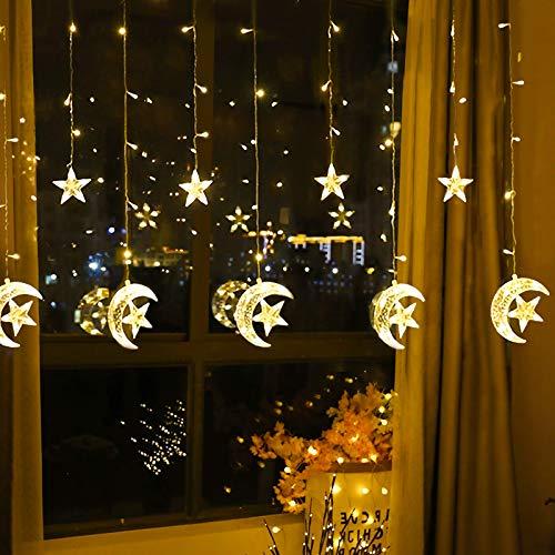 Cadena de luces Cortina LED, 2.5m x 1m Estrellas Blanco Cálido Guirnaldas Luces Pilas luminosas de Exterior, 138 LED Luces de Hadas Decoración para Habitacion, Fiestas, Bodas, Infantil, Navidad