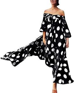 Mayunn Women Lace Off Shoulder Polka Dot Printed Dress Cold Shoulder Ruffle Bow Dress Plus Size (S-5XL)