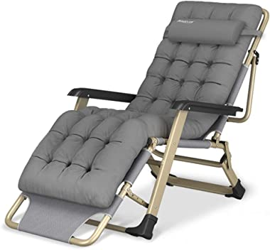 Oversize XL Reclining Chair Folding Zero Gravity Lounge Chair Deck Chairs Cotton Cushion for Garden Outdoor Patio Sun Loungers Bed Recliner Loading up to 300kg with Head Pillow in Gray