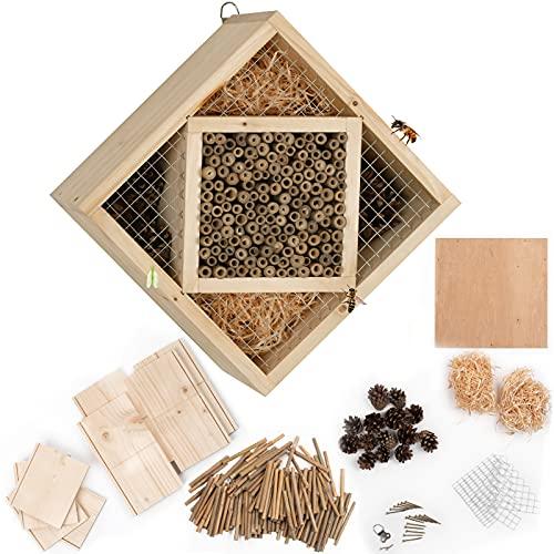 Gardigo Insektenhotel Bausatz | Bastelset für Kinder zum selber bauen | Insektenhaus, Nisthilfe für Bienen, Marienkäfer | 25 x 25 x 13 cm
