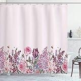 N \ A Mauve Duschvorhang, Vintage-Aquarell-Bouquet mit bunten Frühlingsblumen, romantisches Arrangement, Stoffstoff, Badezimmer-Dekor-Set mit Haken, 182,9 cm lang, Babyrosa