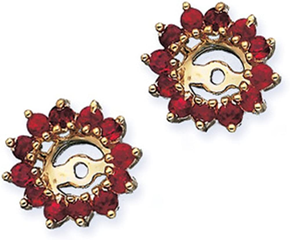 Ruby Floral Earring Jackets in 10K Yellow Gold (1 3/8 cttw)