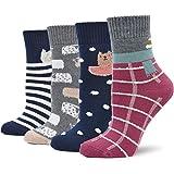 Calcetines Termicos Mujer Calcetines Invierno Coloridos, Mujer Calientes Calcetines de Algodon Gruesa, Mujer Calcetines de Animales Lindos, 4 pares
