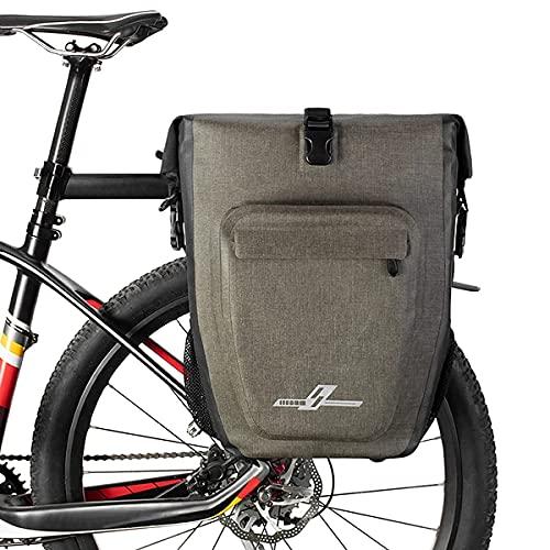 Motorbike Trunk, Bike Pannier Bag Backpack Multifunctional Water Resistant Bicycle Bag Cycling Bicycle Rear Seat Trunk Pack Bag Bike Saddle Bag Backseat Pack Bag 27L,Gray (Color : Black)