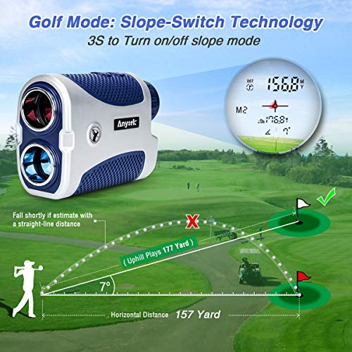 Anyork Golf & Hunting Rangefinder 1500yards, 6X Laser Range Finder with Slope On/Off,Flag-Lock Tech with Vibration, Continuous Scan Support-with Battery