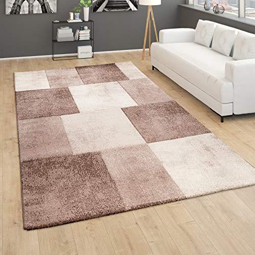 Paco Home Alfombra salón Pelo Corto 3D Moderna Rombos a Cuadros marrón Gris, tamaño:160x230 cm