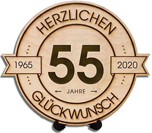 DARO Design - Holzscheibe graviert - 55 Jahre - Größe 20cm - Geschenk zum Jubiläum, Geburtstag, Jahrestag - Herzlichen Glückwunsch