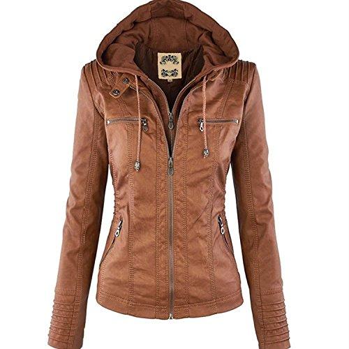 Minetom Femme Fille Mode Bomber Blousons En Simili Cuir Fermeture Éclair Motard Hooded Tops Manteau à Capuche Court Moto Veste Jacket Marron FR 34