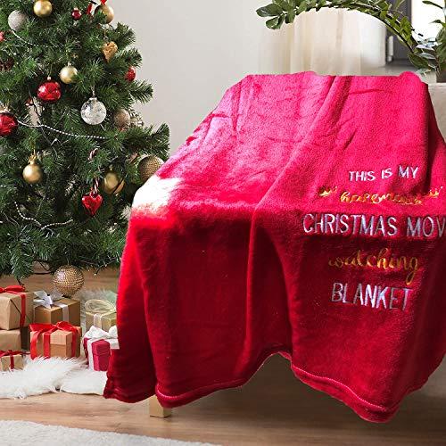 VeVin Sherpa - Coperta per letto e divano, motivo natalizio con film su due lati, super morbida,...