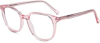 Firmoo Computer Blue Light Blocking Glasses, Pink Clear Glasses Frames for Men/Women