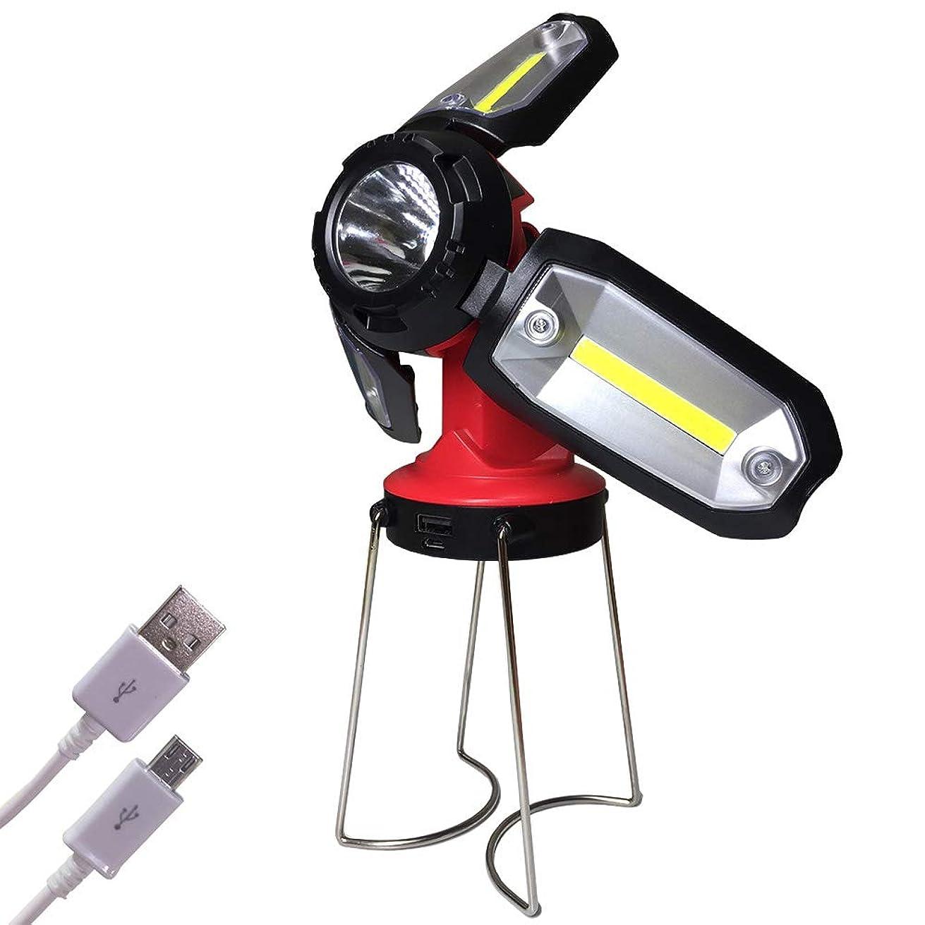 抵抗ルネッサンス前文LEDランタン 懐中電灯 COB LED作業灯 USB充電式 18650電池 2200mA 折畳み 五面点灯 高輝度 多角度 防水 日本語取扱説明書