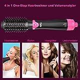 Warmluftbürste, Haartrockner 4 in 1 Multifunktions Föhnbürste (Trocknen, Volumen, Glätten und Locken) Salon Haarstyler (Kurzschlussschutz) - 6