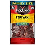 Jack Links Beef Jerky ½ Pounder Bag –Flavorful Meat Snack Made with 100% Premium Beef (96% Fat Free/No Added MSG or Nitrates/Nitrites/11g of Protein and 0 Calories), Teriyaki, 8 Oz