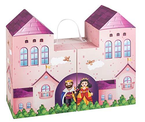 Unbekannt III 10061589 Spielkoffer Märchenschloss, Spielwelt zum Aufklappen für Puppen und Spielfiguren, aus festem Karton, ca. 41,5 x 32 x 12 cm, rosa