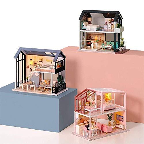 MySixKeen Choza de Bricolaje Hecha a Mano, Modelo nórdico pequeño dúplex, ensamblado a Mano, Lindos Juguetes de construcción, Regalos creativos para la decoración del hogar
