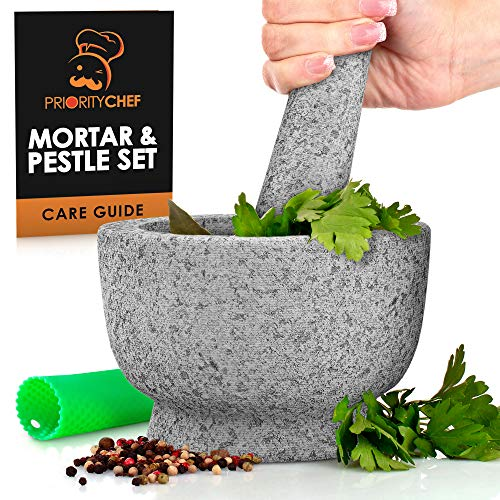 PriorityChef Mortar and Pestle Set  100% Natural 2 Cup Unpolished Granite  Grind Crush amp Mash Spices and More  Easy to Use amp Clean  Solid Stone Mortar and Pestle Large