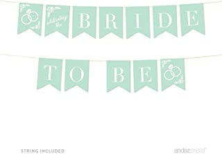 Andaz Press Floral Mint Green Wedding Collection, Hanging Pennant Party Banner with String, Bride to Be, 5-Feet, 1 Set
