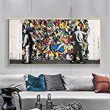 Abstract Street Graffiti Art Canvas Painting on the Wall Art Posters and Prints Art Pictures For Living Room Wall Decoration 35x70 CM (sin marco)