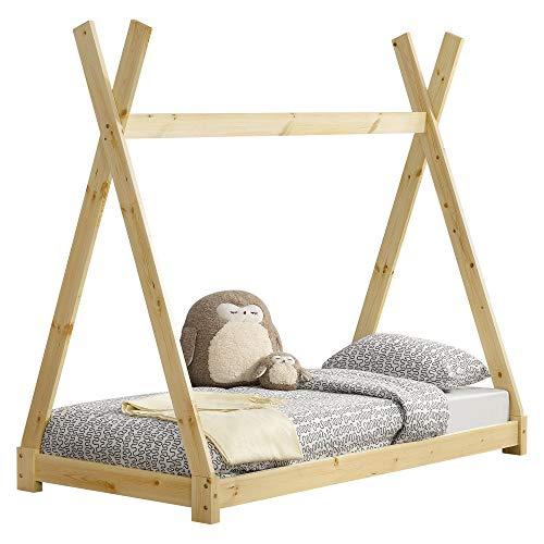 [en.casa] Cama para niños pequeños Cama Infantil 160 x 80cm Estructura Tipi de Madera Pino Color Pino Natural