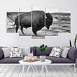 KOPASD 5 Piezas Lienzo Grandes murales 5 Partes Impresión Artística Imagen American Bison American Buffalo Animal Moderno Sala Decorativos para el hogar-Sin Marco-150 * 80cm