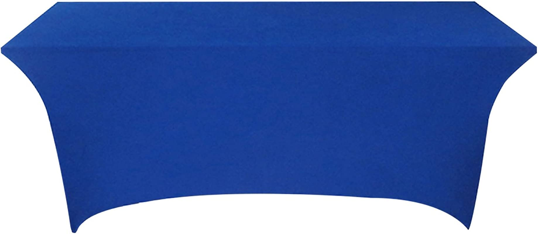 Tina 4 Ft Rectangular Banquet Table Cover Spandex Fitted Stretch Tablecloth Sapphire