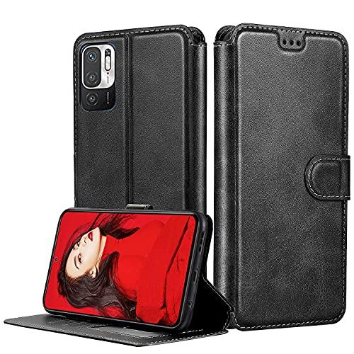 LeYi Funda para Xiaomi Redmi Note 10 5G / Poco M3 Pro 5G (No 4G), Carcasa Libro Tapa Silicona Bumper Cuero Cartera Flip Case Tarjetas Cierre Magnético Soporte Wallet Cover para Redmi Note 10 5G,Negro