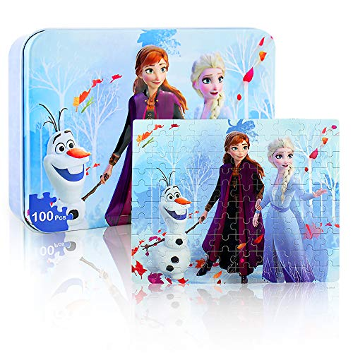 100 Pieces Frozen Puzzles Toys for Kids Cartoon Princess Jigsaw Puzzle for Children Learning Education Metal Box